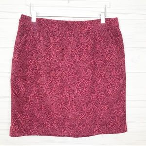 L.L. Bean Velvet Paisley Print Pencil Skirt